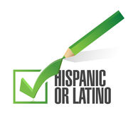 Selected hispanic or latino with check mark. Stock Images