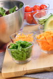 Selected organic salad ingredients. Selected organic vegetables perfect ingredients for healthy eating Stock Images