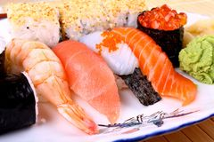 Selected sushi delicacy with ikura and wasabi Stock Images
