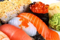 Selected sushi delicacy with ikura and wasabi Royalty Free Stock Photos