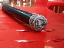 Selecteer nadruk van microfoon stock foto