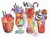Selectie hete dranken: coffe roomijs, latte, frappe, chocolade vector illustratie