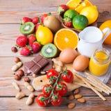 Selectie van allergievoedsel, gezond het levensconcept Royalty-vrije Stock Fotografie