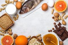 Selectie van allergisch voedsel Het concept van het allergievoedsel stock foto's