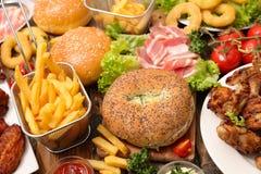 Selectie van Amerikaans voedsel royalty-vrije stock foto's