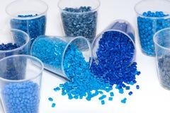 Selectie van blauwe thermoplastische hars stock fotografie