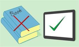 Selectie van boeken of tablet vlak ontwerp Royalty-vrije Stock Afbeeldingen