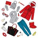 Selectie van de kleding van de wintervrouwen ` s Jasje, laag, schoenen, zak, parfum, schoonheidsmiddelen en andere toebehoren Een vector illustratie