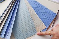 Selectie van de stof van gordijnzonneblinden stock foto's