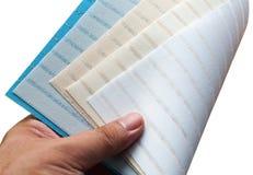 Selectie van de stof van gordijnzonneblinden royalty-vrije stock foto