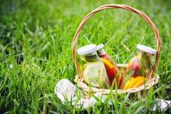 Selectie van de zomerlimonades Mand op de weide met het verfrissen van dranken stock afbeeldingen