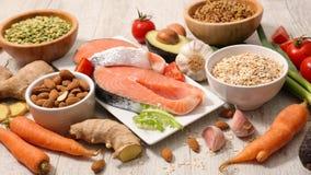 Selectie van dieetvoedsel stock afbeeldingen