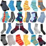 Selectie van diverse sokken stock afbeelding
