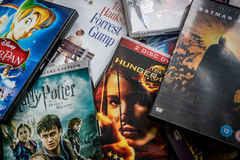 Selectie van DVDs Stock Fotografie
