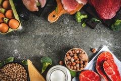 Selectie van eiwit bronvoedsel royalty-vrije stock afbeelding