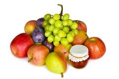 Selectie van geïsoleerdet de herfstvruchten en honing Stock Afbeelding
