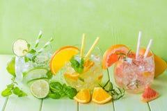 Selectie van gegoten water voor detox Royalty-vrije Stock Afbeelding