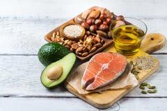 Selectie van gezond vet bronvoedsel, het levensconcept stock afbeelding