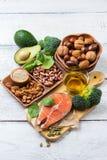 Selectie van gezond voedsel voor hart, het levensconcept Stock Fotografie