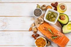 Selectie van gezonde onverzadigde vetten, Omega 3 royalty-vrije stock afbeeldingen