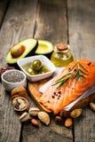 Selectie van gezonde onverzadigde vetten, Omega 3 stock afbeeldingen
