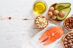 Selectie van gezonde vette bronnen Stock Foto's