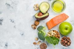 Selectie van gezonde voedselbronnen - gezond het eten concept Ketogenic dieetconcept stock afbeelding