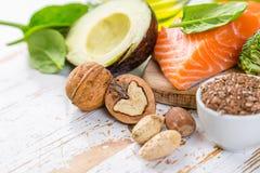 Selectie van gezonde voedselbronnen - gezond het eten concept Ketogenic dieetconcept royalty-vrije stock fotografie