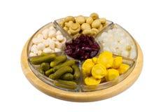 Selectie van groenten in het zuur Royalty-vrije Stock Afbeeldingen