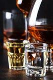 Selectie van harde alcoholische dranken in grote glazen en klein geschoten glas in assortent: wodka, rum, cognac, tequila, brande royalty-vrije stock foto