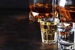 Selectie van harde alcoholische dranken in grote glazen en klein geschoten glas in assortent: wodka, rum, cognac, tequila, brande stock fotografie