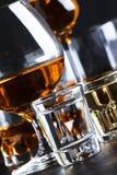 Selectie van harde alcoholische dranken in grote glazen en klein geschoten glas in assortent: wodka, rum, cognac, tequila, brande stock afbeeldingen