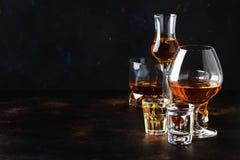 Selectie van harde alcoholische dranken in grote glazen en klein geschoten glas in assortent: wodka, rum, cognac, tequila, brande stock foto's