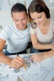 Selectie van huisblauwdruk stock afbeelding