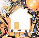 Selectie van hulpmiddelen in de vorm van een huis Stock Foto