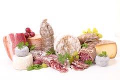 Selectie van kaas en salami royalty-vrije stock fotografie