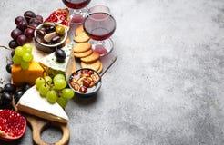 Selectie van kaas en voorgerechten stock foto