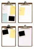 Selectie van klemborden met gehechtheid stock afbeeldingen