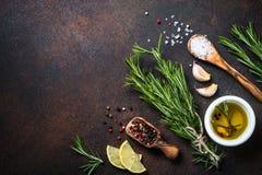 Selectie van kruiden en kruiden op donkere roestige lijst Stock Foto