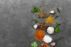Selectie van kruiden, herbsl op zwarte steenlijst Ingredi?nten voor het koken De achtergrond van het voedsel stock foto