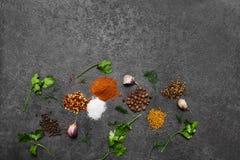 Selectie van kruiden, herbsl op zwarte steenlijst Ingredi?nten voor het koken De achtergrond van het voedsel stock foto's