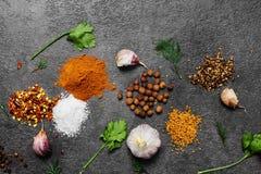 Selectie van kruiden, herbsl op zwarte steenlijst Ingredi?nten voor het koken De achtergrond van het voedsel royalty-vrije stock foto's