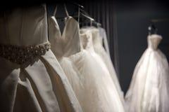 Selectie van met de hand gemaakte witte huwelijkstoga's stock afbeelding