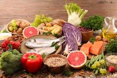 Selectie van natuurlijke voeding stock afbeelding