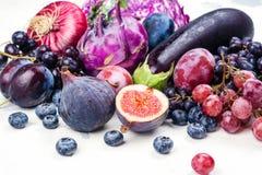 Selectie van purper voedsel stock foto