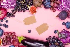 Selectie van purper voedsel stock afbeeldingen
