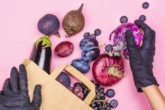Selectie van purper voedsel stock fotografie
