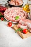 Selectie van ruw vlees stock foto's