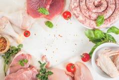 Selectie van ruw vlees stock foto