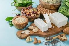 Selectie van vegetarische eiwitbronnen - concent gezonde voeding Royalty-vrije Stock Afbeelding